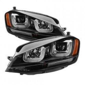 Projector Headlights - DRL LED - Black Stripe - Black