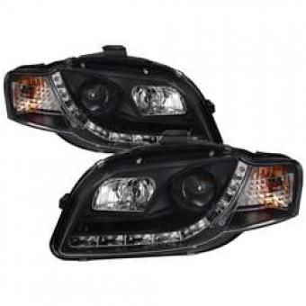 Projector Headlights - Halogen - DRL - Black - High H1 - Low H1