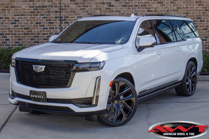 "White 2021 Cadillac Escalade 26"" Lexani Wheels 295/30r26 lexani lx-30 lx-thirty Tires"