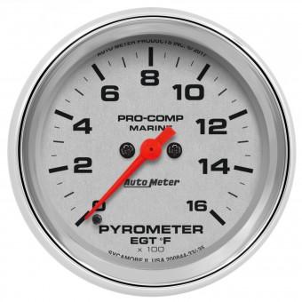 "GAUGE, PYROMETER, 2 5/8"", 0-1,600?F, MARINE CHROME"