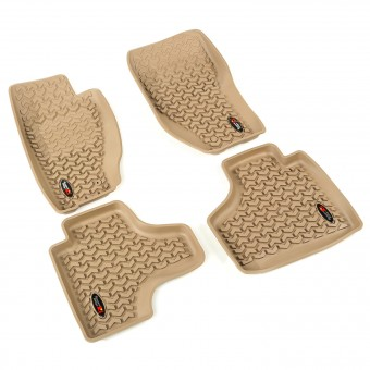 Floor Liners, Tan, Front/Rear; 08-13 Jeep Liberty