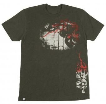 T-Shirt; Flame Thrower Skull, Heather