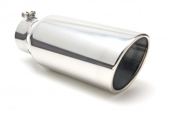 "EXHAUST TIP BOLT-ON; STAINLESS; 4"" I.D. X 6"" X 15""; DIESEL INTERCOOLER ANGLED"