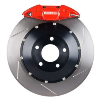 StopTech Big Brake Kit; Black Caliper, Slotted Two-Piece Rotor, Rear