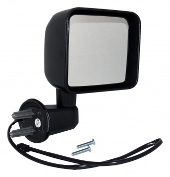 Right Side Power, Heated, Mirror for 2015-2018 Jeep JK Wrangler; Textured Black