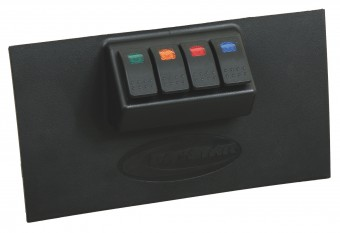 Dash/Switch Panel; Lower; Incl. 4 Rocker Switches; 1 Red; 1 Amber; 1 Blue; 1 Green;