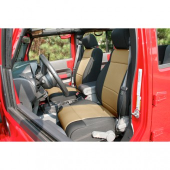 Neoprene Front Seat Covers, Black/Tan; 11-16 Jeep Wrangler JK