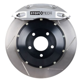 StopTech Big Brake Kit; Black Caliper, Drilled Two-Piece Rotor, Front
