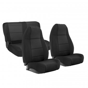 Smittybilt NEOPRENE SEAT COVER SET FRONT/REAR - BLACK JEEP, 76-90 CJ/YJ 471001