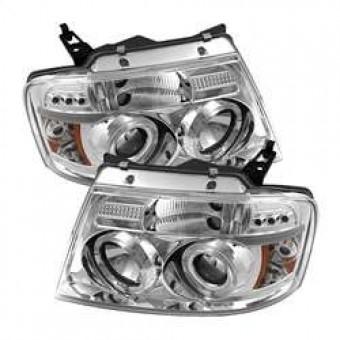 Projector Headlights - Version 2 - LED Halo - LED - Chrome
