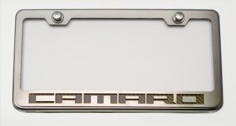 "Tag Frame Chrome/Satin ""Camaro Style"" Solid Black"