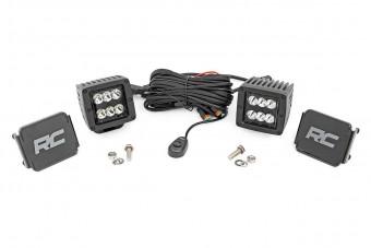 2-inch Square Cree LED Lights - (Pair | Black Series, Spot Beam)