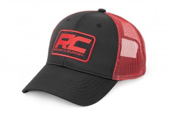 Rough Country Mesh Hat - Black & Red
