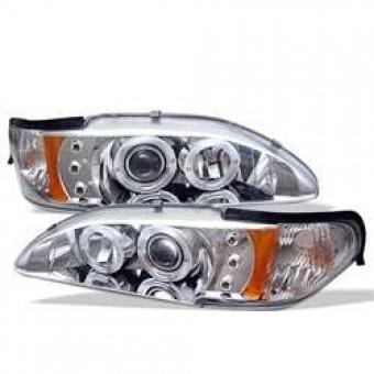 1PC Projector Headlights - LED Halo - Amber Reflector - LED - Chrome