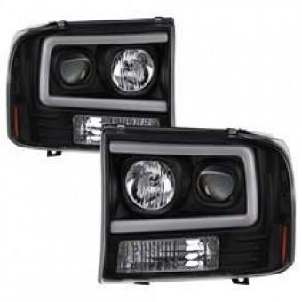 1PC Light Bar Projector Headlights - Black