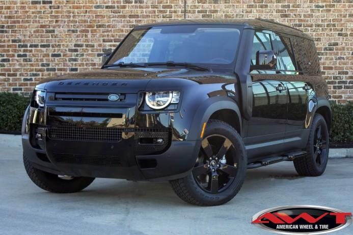 Santorini Black 2020 Land Rover Defender 110 chrome delete black out powder coated wheels