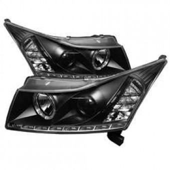 Projector Headlights - LED Halo -DRL - Black - High H1 - Low H7