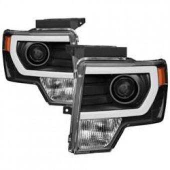 Projector Headlights - Halogen - Light Bar DRL - Black
