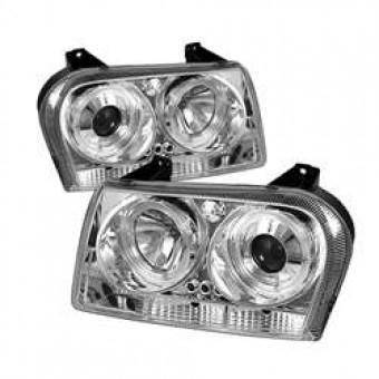 Projector Headlights - LED Halo - LED - Chrome - High H1