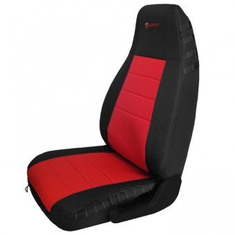 Jeep YJ Seat Covers Front 87-95 Wrangler YJ Mil-Spec Black/Red Bartact