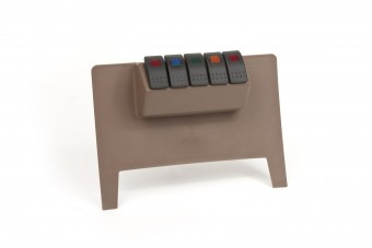 Dash/Switch Panel; Tan; Lower; Incl. 4 Rocker Switches; 1 Red; 1 Blue; 1 Amber; 1 Green;