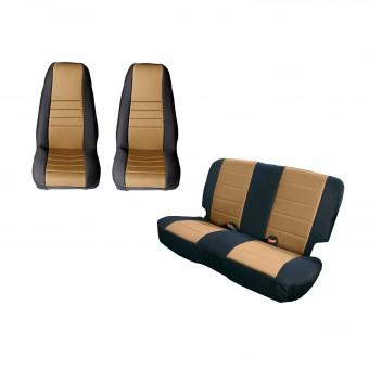Seat Cover Kit, Black/Tan; 80-90 Jeep CJ/Wrangler YJ