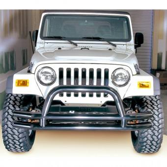 Double Tube Front Bumper w/ Hoop, 3 Inch; 76-06 Jeep CJ/Wrangler YJ/TJ