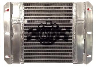 13.8Lx10H Dual Fluid BAR&PLATE HD OIL COOLER w/9' SPAL FAN (1/3 & 2/3 partition)