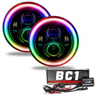7 in. High Powered LED Headlights, Black Bezel, ColorSHIFT - BC1