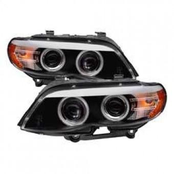 Dual Projector Headlights - Halogen DRL LED - CCFL Halo - Black