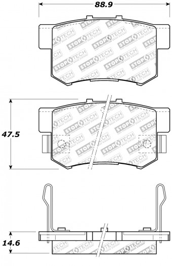 StopTech Street Brake Pads; Rear with Shims and Hardware