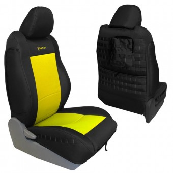 Toyota Tacoma Seat Covers 09-15 Tacoma TRD Front Black/Yellow Tactical Series Pair Bartact