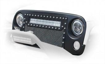Jeep JK Mesh LED Grill Black 07-18 Wrangler JK No Light DV8 Offroad