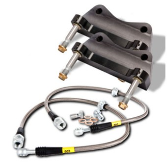 StopTech Big Brake Kit; Black Caliper, Drilled Two-Piece Rotor, Rear