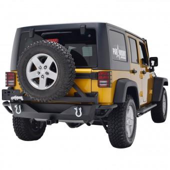 Tubular Rear Bumper w/ Tire Carrier Black