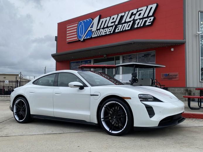White 2021 Porsche Taycan staggered 21x9.5 21x11.5 Lexani Forged LZ-106 wheels Goodyear Eagle F1Asymmetric 3 tires