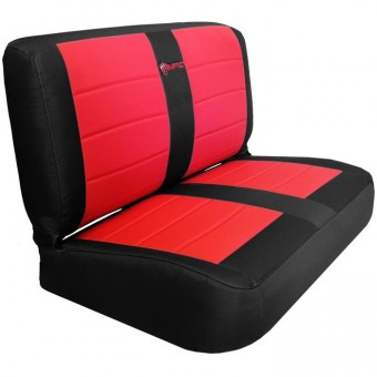 Jeep YJ Seat Covers Rear Bench 87-95 Wrangler YJ Mil-Spec Black/Red Bartact