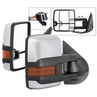 G3 Power Heated Amber LED Signal Telescoping Mirror Chrome Cover - SET