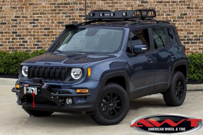 "Slate Blue 2020 Jeep Renegade 1.5"" Lift 29"" Toyo Tires 1.5″ Teraflexlift Black RhinoTrabucowheels Go Rhino Roof Rack"
