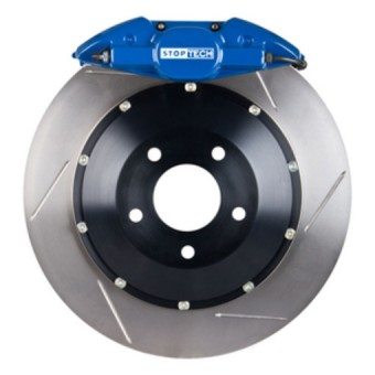 StopTech Big Brake Kit; Blue Caliper, Slotted Two-Piece Rotor, Rear