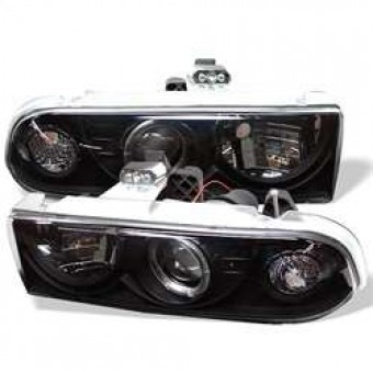Projector Headlights - LED Halo - Black - Low H1