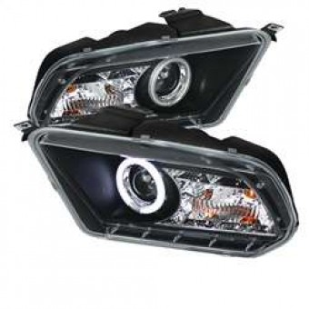 Projector Headlights - Halogen - CCFL Halo - DRL - Black - High/Low H7