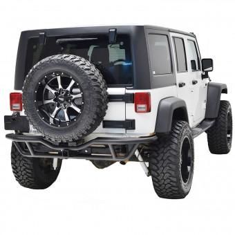 Tubular Rear Bumper Black w/ Tire Carrier