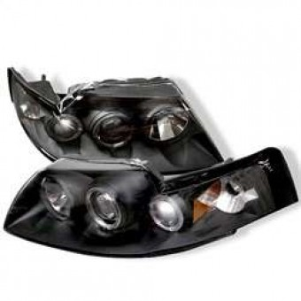Projector Headlights - LED Halo - Black - High H1 - Low H1