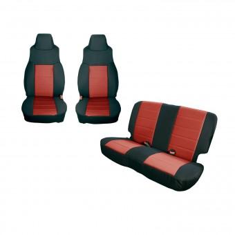 Seat Cover Kit, Black/Red; 97-02 Jeep Wrangler TJ