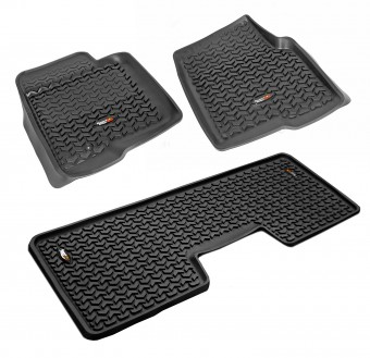 Floor Liners, Kit, Black; 09-14 Ford F-150 SuperCrew