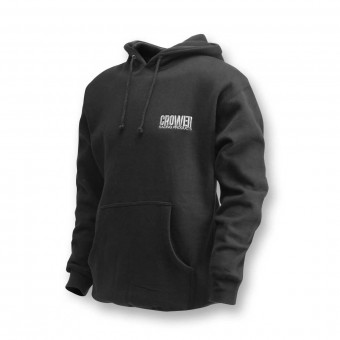 HOODED SWEATSHIRT (SMALL) BLACK WITH CROWER LOGO (80% COTTON/20% POLY)