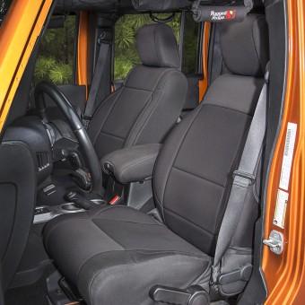 Neoprene Front Seat Covers, Black; 11-16 Jeep Wrangler JK