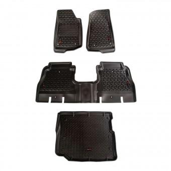 Floor Liner, Front/Rear/Cargo; Black, 2018-2020 Jeep Wrangler JL 4 Dr