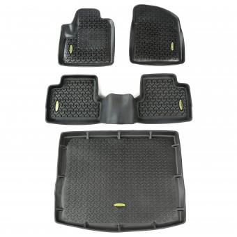 Floor Liners, Kit, Black, Front/Rear/Cargo; 14-16 Jeep Cherokee